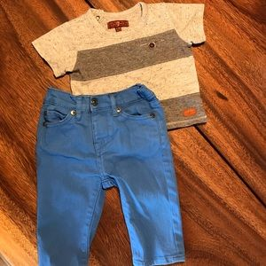 7 For All Mankind T-shirt and Jeans 6-9mo